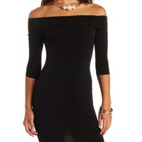 Fold-Over Off-the-Shoulder Bodycon Dress by Charlotte Russe - Black