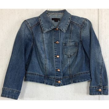 JW Style Cropped Denim Jacket Blue Jean Fade Copper Button Western Cowgirl S