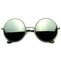Round Metal Reflective Mirrored Lens Sunglasses