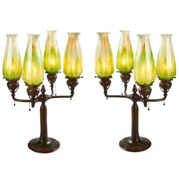 Tiffany Studios Pair of Lighted Candelabra