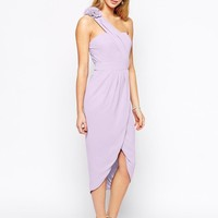 TFNC | TFNC One Shoulder Pencil Dress With Wrap Skirt And Corsage Detail at ASOS
