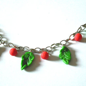 Leaves bracelet with red beads crafted by hand in cold porcelain without molds, christmas gift idea