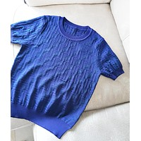 Fendi New Fashion High Quality More Letter Women Knit Top T-Shirt Blue