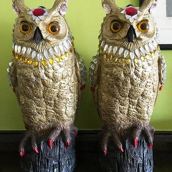 Owl Decor Owl Gifts Owl Figurine Owl Art Owl Lover Gift Bird Lover Gift for Gardener Garden Decor Cottage Decor Rustic Decor Cabin Decor