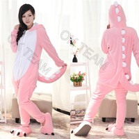 Size S M L XL New Pink Dinosaur Onesuits Adult Cosplay Costume Flannel Pajamas Animal Onesuits Free Shipping