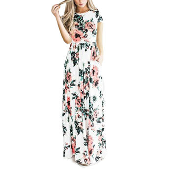 Flower Printed Boho Style Long Dresses Summer Fashion Round Neck Elastic High Waisted Pleated Women Evening Party Maxi Dress