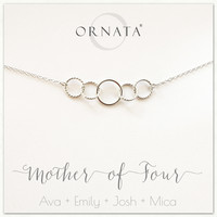 """Mother of Four"" Sterling Silver Necklace 