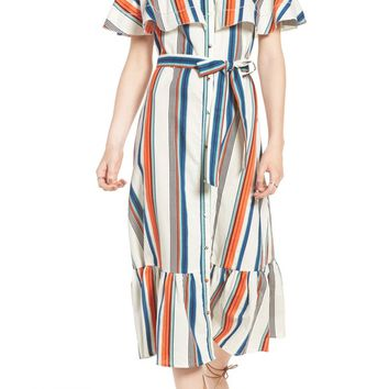 MOON RIVER Stripe Off the Shoulder Midi Dress | Nordstrom