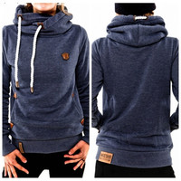 Women Autumn Long Sleeve Heaps Collar Hooded Hoodies Draw Cord Pocket Pullover Sweater Coat S-XL = 5618500161