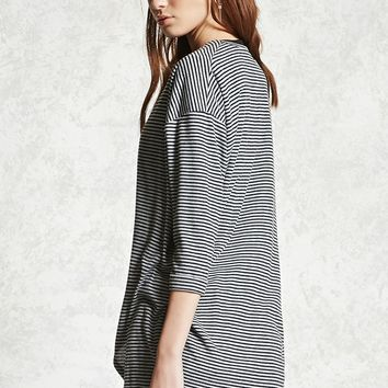 Striped Fleece Cocoon Cardigan