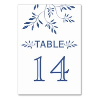 Indigo blue leaves wedding table number card table cards