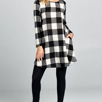 Buffalo Plaid Swing Dress - Black