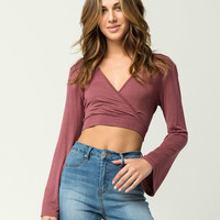 IVY & MAIN Surplice Bell Sleeve Womens Wrap Crop Top