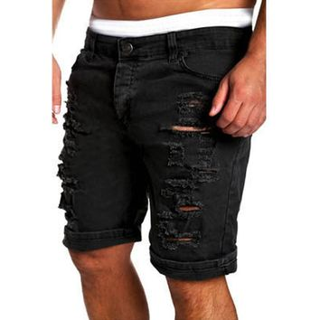 2017 Cargo Shorts Men Hot Sale Casual Ripped Holes Summer Brand Clothing Cotton Male Fashion Jogger Work Shorts Men
