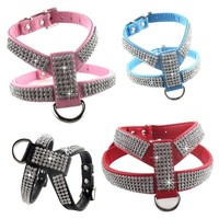 PU leather Rhinestones  Dog Harness