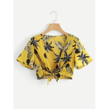 Pineapple Print  Knot Front Top