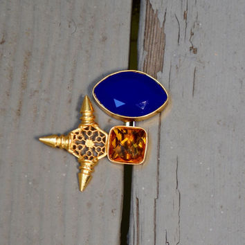 Royal Blue Onyx and Citrine Cocktail Ring with Hexagonal Accents