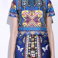 Vintage Geometric Printed T-Shirt and High Waist Shorts