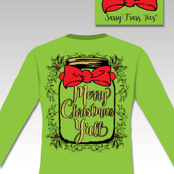 Sassy Frass Comfort Colors Merry Christmas Y'all Mason Jar Mistletoe Bow Long Sleeve Bright Girlie T Shirt