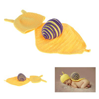 Yellow Snail Woolen Crochet Baby Costume