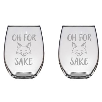 Funny Fox Engraved Glasses, Flutes, Pint Glass, Mason Jar FREE PERSONALIZATION