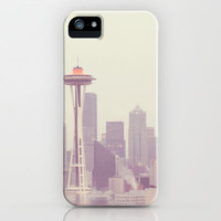 Thinking of you. Seattle skyline Space Needle photograph iPhone Case by Myan Soffia