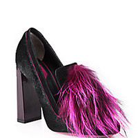 Fendi - Fox Fur & Calf Hair Loafer Pumps - Saks Fifth Avenue Mobile
