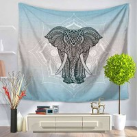 Tapestry Elephant Flower Printing Hanging Sandy Beach Sit Carpet GT1103