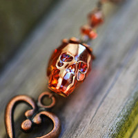 Swarovski Skull Necklace, Red Magma Swarovski Necklace, Antique Copper Skeleton Key Necklace, Crystal Skull Necklace