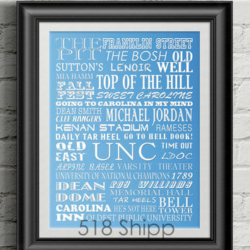 University of North Carolina CREATE YOUR OWN Tarheels Subway Scroll Art Print Wall Decor Typography Inspirational Poster Motivational