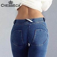 CHESSIECA New 2017 Freddys Jeans Women's Fashion Push Up Pants Sexy Elastic Denim Leggings Trousers Hip Fitness Pencil Pant