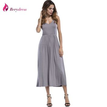 Berydress Women Beach Dress O-neck Sleeveless Solid Cotton A-Line Tank Dress Stretchy Waist Mid-Calf Length Long Casual Dress