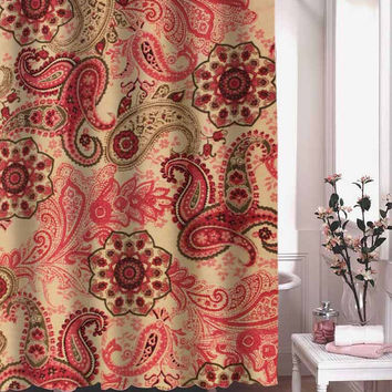 pink paisley shower curtain adorabel batheroom hane made