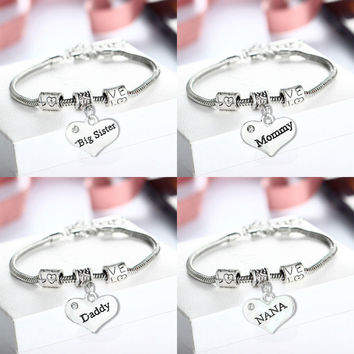 Mom Dad Sister Niece Bangle Bracelet Best Friend Birthday Charm Women men Jewelry Father's And Mother's Day Gifts