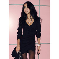 Black V-Neck Ruffled Knitted Dress