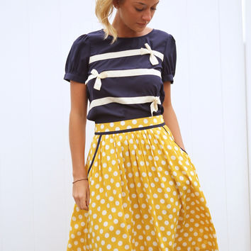 Shirred Polka Dot Flare Skirt