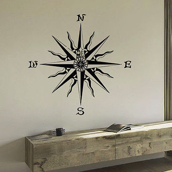WALL DECAL VINYL STICKER WIND ROSE COMPASS TRAVEL GEOGRAPHY DECOR SB414