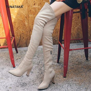 2017 New Faux Suede Winter Stretch Thigh Boots Zip Lace Up Suqare High Heel Pointed Toe Shoes Woman Black Apricot Gray Brown Red