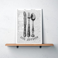 Modern art Bon appetit poster Cutlery print Dining room decor TO105