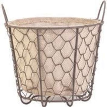 Panacea Products - Rustic Basket With Burlap Liner