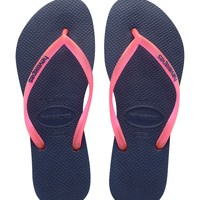 Havaianas Slim Logo Pop-Up in Navy Blue/Pink- Size 6