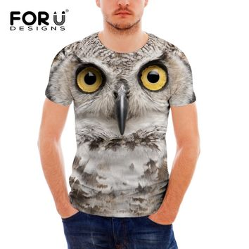 FORUDESIGNS 3D T Shirt Casual Men Owl Tiger Lion Dinosaur T-shirt Mens Funny Luxury Brand Camiseta Animals Print Tee Shirt Homme