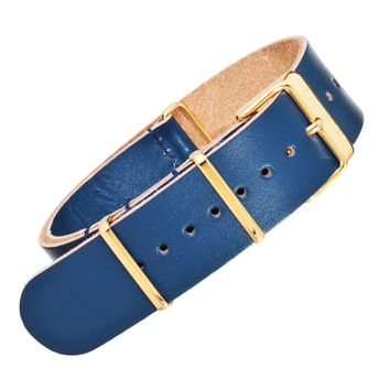 22mm Blue Leather NATO - Gold Buckle