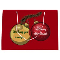 Personalised Text Christmas Tree Baubles Cartoon Large Gift Bag