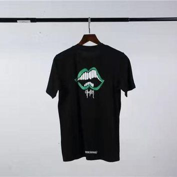 VONE5GW Chrome hearts green lips big white teeth chest chest hooded cotton round neck lovers short-sleeved T-shirt