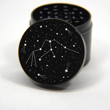 Laser Engraved Herb Grinder - Horoscope Zodiac Signs Constellation Star Chart Art Design 4 Piece Aluminum Grinder GW301