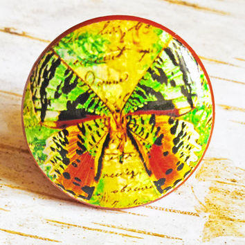 Butterfly Knobs Drawer Pulls, Green Orange Yellow Cabinet Pull Handles, Garden Dresser Knob Pulls, Choose Knob Color, Made To Order