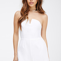 Notched Strapless Romper