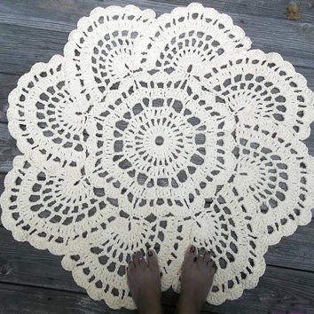 "Cream Cotton Crochet Doily Rug in 36"" Circle Lacy Shell Pattern READY TO SHIP"