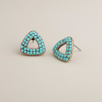 Turquoise Triangle Stud Earrings - World Market